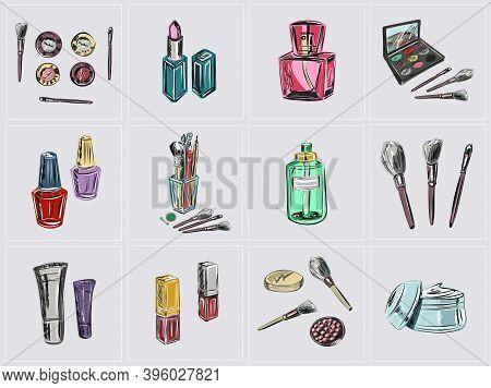 Cosmetic Brushes, Ball Blush, Eye Shadow, Powder, Concealer, Lipstick, Cream, Skin Serum, Nail Polis