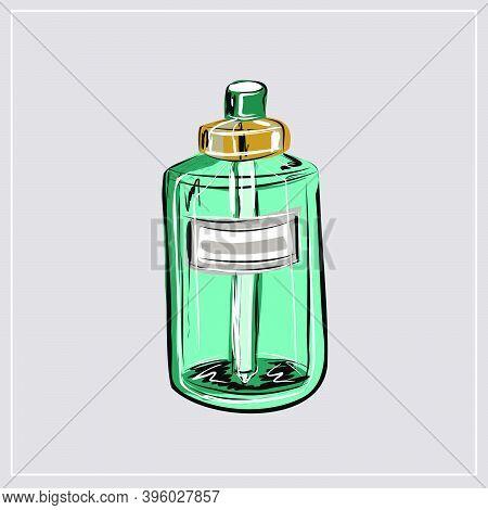 Cream, Skin Serum. Perfume Bottle, Fragrance. Beauty Shop, Beauty Box. A Set Of Decorative And Care