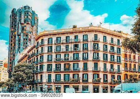 Barcelona, Spain - Sept  02, 2014: Beautiful Landscape Of The Urban View Barcelona, Catalonia.the Mo