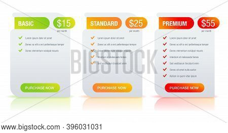 Tariff Plan Comparsion Web Ui Template - Basic, Standard, Premium Tariffs - Three Columns With Optio
