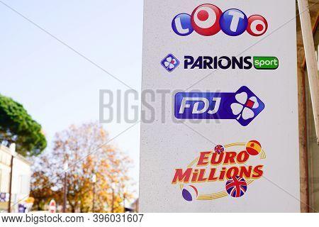 Bordeaux , Aquitaine / France - 11 11 2020 : Fdj La Francaise Des Jeux Store French Sign And Text Lo
