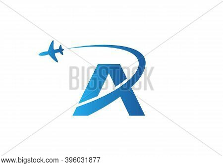 Air Travel Logo Design With A Letter. A Letter Concept Air Plane And Travel Logo.