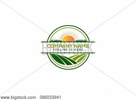 Agriculture And Farming With A Tractor With Cultivator And Plow, Logo Design. Agribusiness, Eco-farm