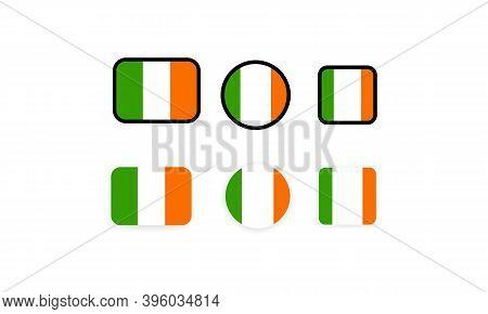 Set Of Flags Of Ireland. National Ireland Flag. Irelandian Symbol. Vector Illustration. Eps10