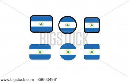Set Of Flags Of Nicaragua. National Nicaragua Flag. Nicaragua Symbol. Vector Illustration. Eps10