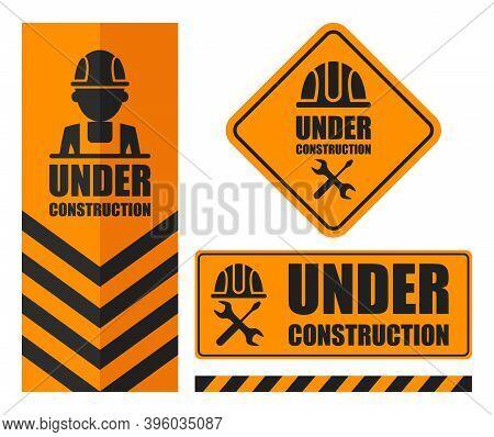Warning Sign Under Construction Set. Orange Color. Logo Concept.