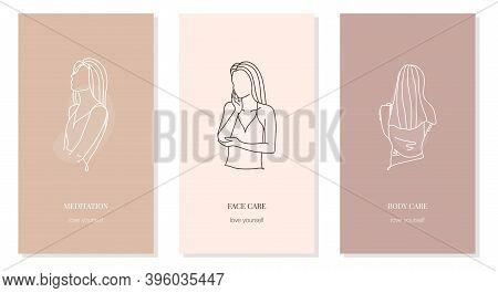 Girls In Line Art Style Waist-length Portrait. Taking Care Of The Body, Face, Meditation. Vector Set