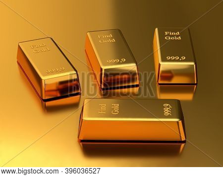 Gold Bank Bullions. Business And Finance Concept. 3d Rendering