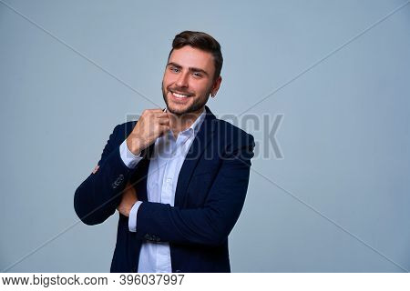 Businessman Business Person. Man Business Suit Studio Gray Background. Modern Business Person Folded
