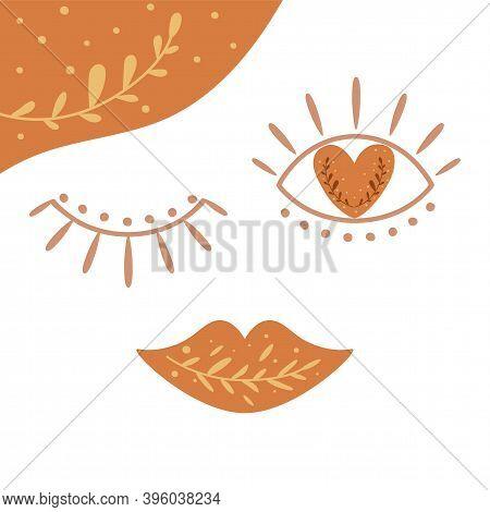 Boho Love Symbol. Cute Bohemian Face. Boho Eyes Lips. Cute Valentines Day Element. Boho Botnical Sha