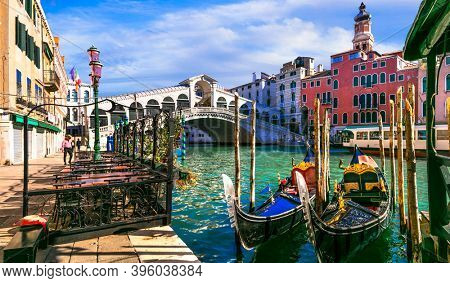 Beautiful amazing Venice town. Grand canal and Rialto Bridge. Italy. Nov.2020