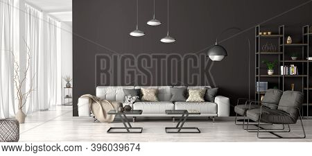 Modern Interior Design Of Apartment, Living Room With Gray Sofa And Black Armchairs, Home 3d Renderi