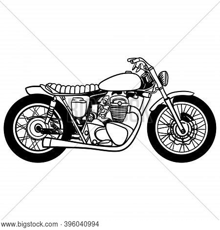 Vector Motorcycle Icon, Hand Drawing, Black On White Background, Isolated. Silhouette Of Motorcycle.
