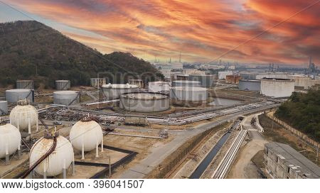 Oil Refinery Industry At Sunset - Factory - Petrochemical Plant