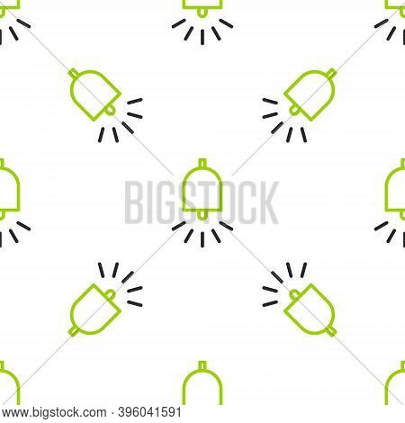 Line Ringing Alarm Bell Icon Isolated Seamless Pattern On White Background. Fire Alarm System. Servi