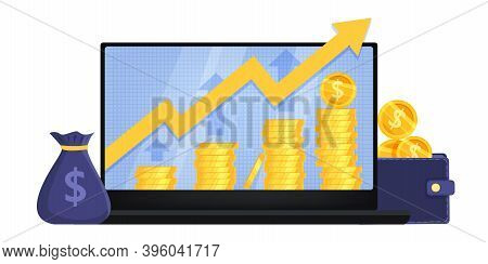 Revenue And Income Growth Finance Vector Illustration With Laptop, Money Bag, Coin Stacks,pointing U