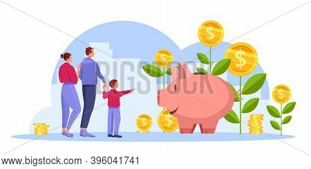 Income Growth Or Return On Investment Revenue Vector Concept With Happy Successful Family, Money Pla