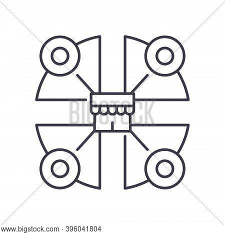 Market Segmentation Icon, Linear Isolated Illustration, Thin Line Vector, Web Design Sign, Outline C