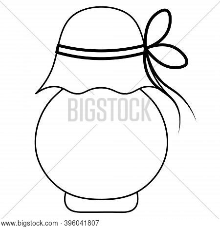 Jar Of Jam. Sketch. Delicious Berry Jam In A Glass Container. Vector Illustration. Outline On An Iso