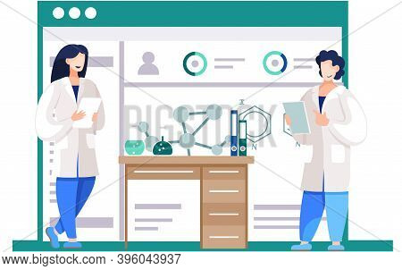 Chemical Experiments. Chemists Are Monitoring The Progress. Model Of Molecule On The Poster. Scienti