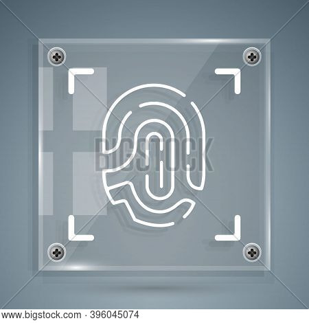 White Fingerprint Icon Isolated On Grey Background. Id App Icon. Identification Sign. Touch Id. Squa