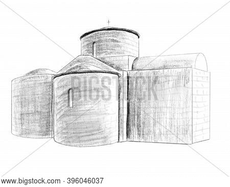 Ancient Cyprus Church. Black And White Isolated Hand Drawn Pencil Illustration