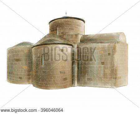 Ancient Cyprus Church. Hand Drawn Illustration Isolated On White Background