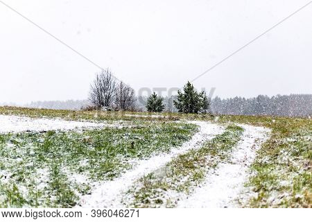Winter Christmas Landscape Natural Background Of Road Path Bends Through Field With Trees And Snow F