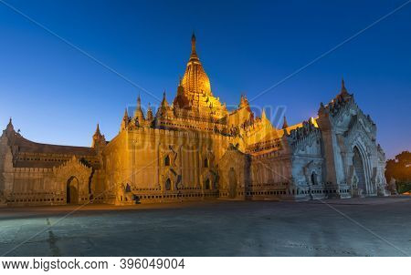 Night picture of Ananda temple, majestic buddhist shrine from 12th century. Bagan, Myanmar.