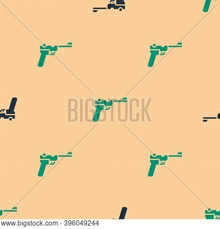 Green And Black Mauser Gun Icon Isolated Seamless Pattern On Beige Background. Mauser C96 Is A Semi-