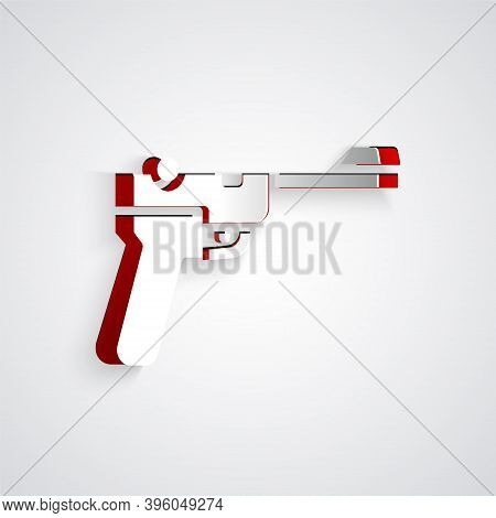 Paper Cut Mauser Gun Icon Isolated On Grey Background. Mauser C96 Is A Semi-automatic Pistol. Paper