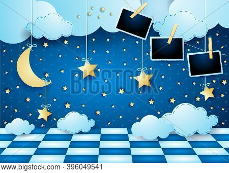 Surreal Landscape By Night With Moon, Floor And Photo Frames. Vector Illustration Eps10