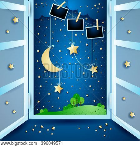 Surreal Landscape With Open Windows And Photo Frames. Vector Illustration Eps10