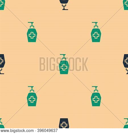Green And Black Bottle Of Liquid Antibacterial Soap With Dispenser Icon Isolated Seamless Pattern On
