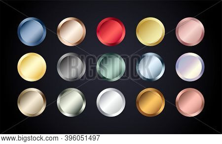 Metal Chrome Circle Buttons Set. Vector Metallic Rose Gold, Bronze, Silver, Steel, Holographic, Gold