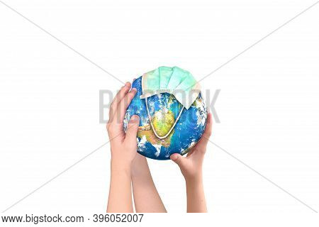Hands Holding Earth Globe On White Background. Clipping Path.elements Of This Image Furnished By Nas