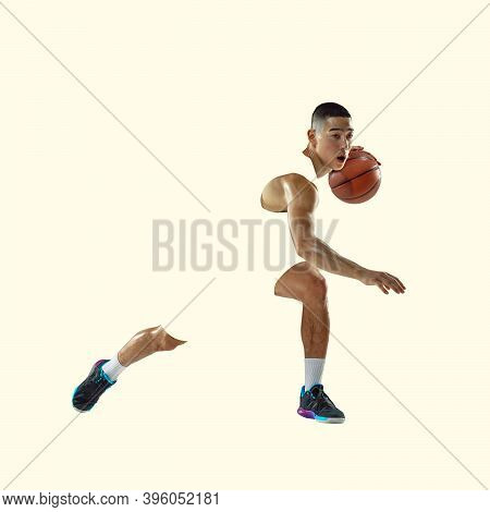 Basketball Player. Young Asian Sportsman Isolated On Studio Background, Modern Artwork. Healthy Life