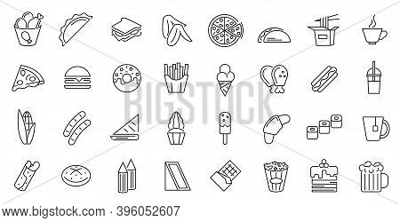 Fastfood Sign Thin Line Icon Set Include Of Burger, Pizza And Coffee. Vector Illustration Of Fast Fo