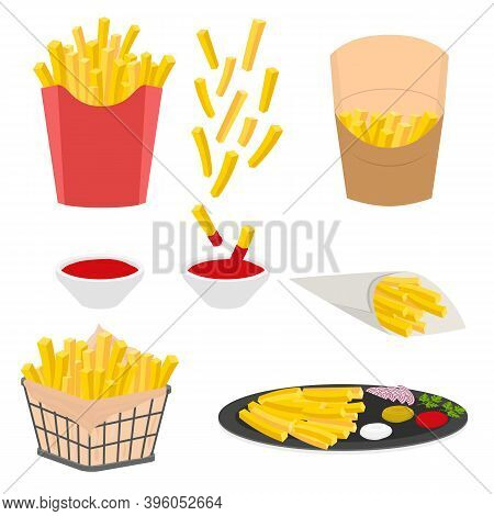 Cartoon Color Salty French Fries Icons Set Unhealthy Fast Food Concept Flat Design Style . Vector Il