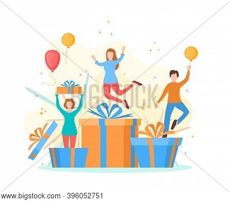 Cartoon Color Characters Happy People And Receive A Gift Box Concept Flat Design Style. Vector Illus