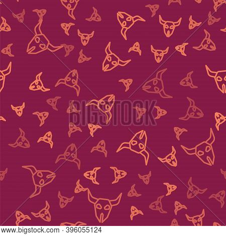 Brown Line Buffalo Skull Icon Isolated Seamless Pattern On Red Background. Vector