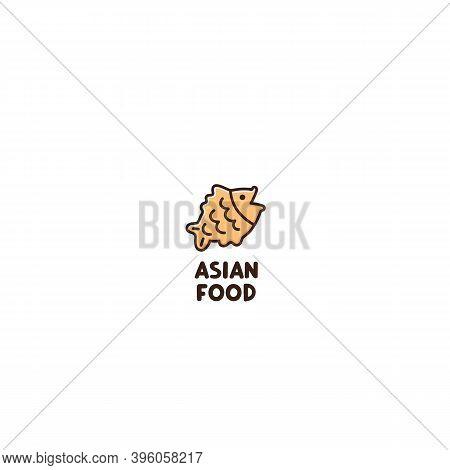 Asian Food Logo. Taiyaki Is A Waffle-like Japanese Snack Warm Fish-shaped Cake. Traditional Asian Or