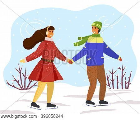 Couple Skating Together In Winter Holding Hands Looking At One Another, Snow-covered Bushes, Snowy W