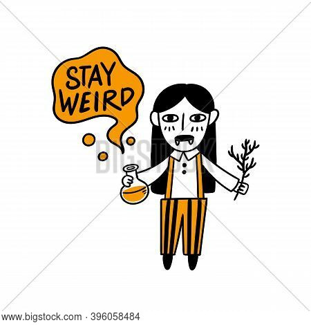 Cartoon Character: Witch Vampire With Potion And Dry Twig, In Striped Pants And Shirt. Inscription:
