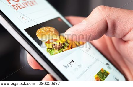 Food Delivery App Order With Phone. Online Mobile Service For Take Away Burger And Pizza. Hungry Man