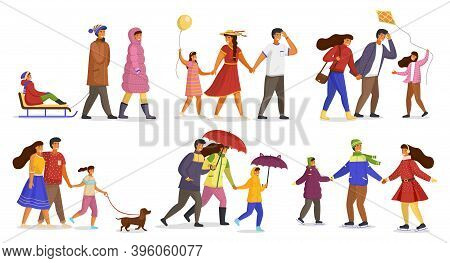 Family Collection, Parents Ride Child On Sledge, Happy Father, Mother And Daughter With Balloon, Gir