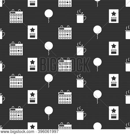 Set Mulled Wine, Greeting Card, Birthday Calendar And Balloon With Ribbon On Seamless Pattern. Vecto