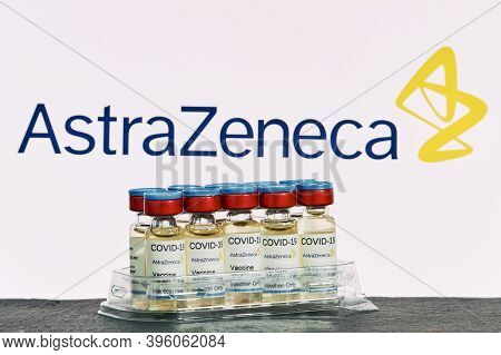 Mallorca/spain- November 21 2020: Astrazeneca Research Coronavirus (covid 19) Vaccine. Row Of Vaccin