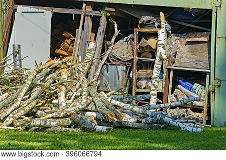Trees In The Sawmill Are Stacked In Bags For Sell. Stacks Of Firewood. Preparation Of Firewood For T