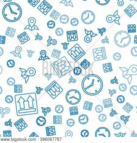 Set Line This Side Up, Fast Time Delivery And Placeholder On Map Paper On Seamless Pattern. Vector